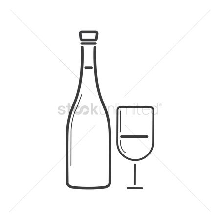Red wines : Wine bottle and glass