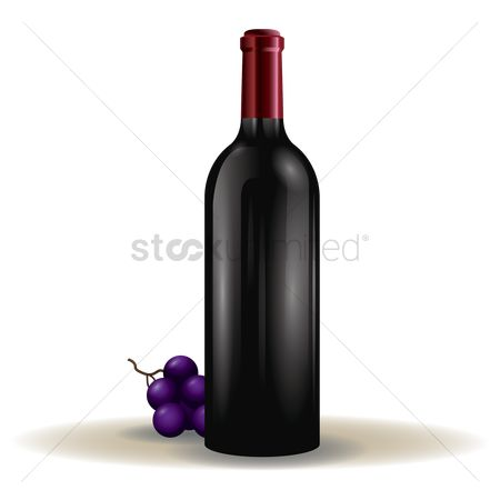 Grapes : Wine bottle and grapes