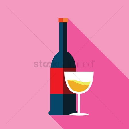 Red wines : Wine bottle with glass