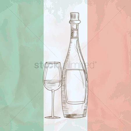 Tricolored : Wine bottle with glass