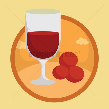 Red wine : Wine glass with red berries