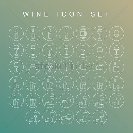Grapes : Wine icon set