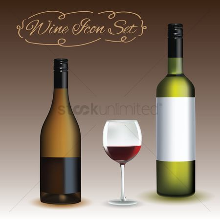 Red wines : Wine icon set