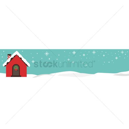 Cottage : Winter banner with hut