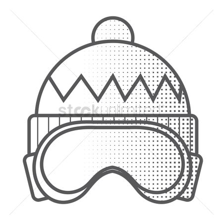Skiing : Winter hat and ski goggles