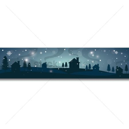 Chimneys : Winter landscape banner