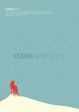 Snow : Winter landscape with wolf poster design