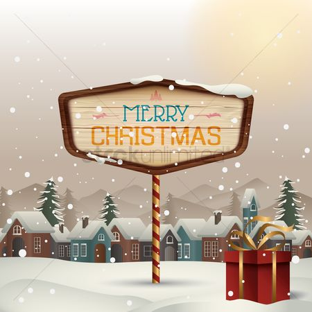 Greetings : Winter town with merry christmas signboard