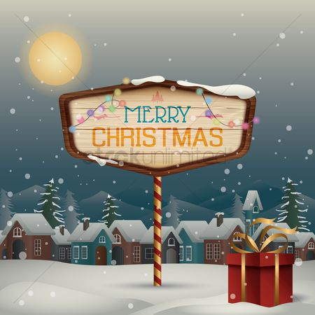 Wooden sign : Winter town with merry christmas signboard
