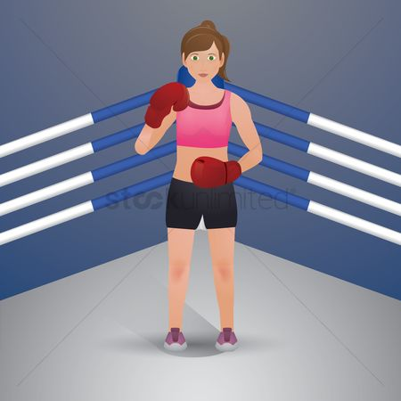 Boxing glove : Woman boxer in action