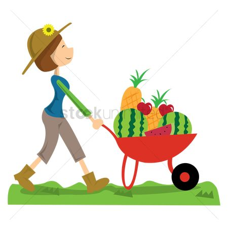 Wheelbarrow : Woman carrying fruits and vegetables in wheelbarrow