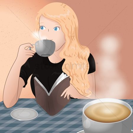 Steam : Woman drinking coffee and reading book