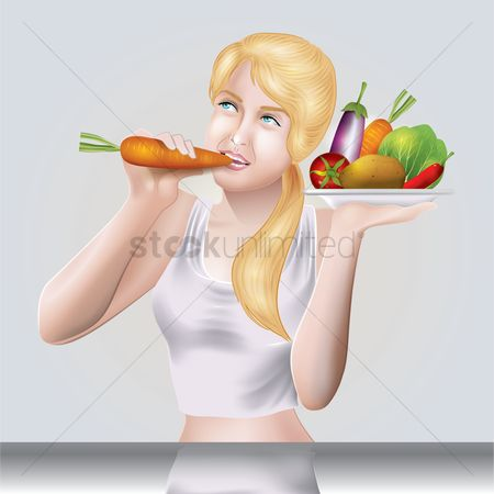Eat : Woman eating carrot