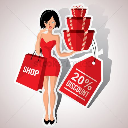 Shops : Woman holding gift box with discount tag