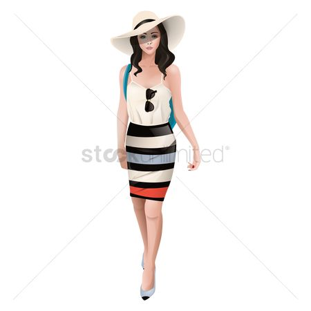 Fashions : Woman in casual clothing and a hat