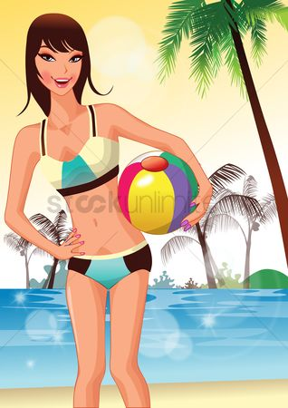 Swimsuit : Woman posing with a beach ball