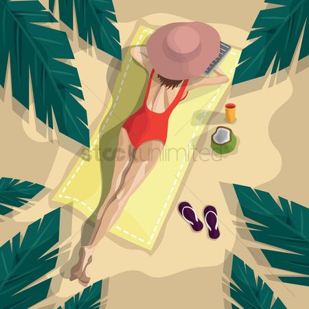 Swimsuit : Woman relaxing on beach