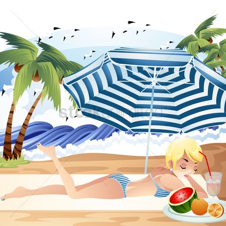 Watermelon : Woman relaxing under the beach umbrella