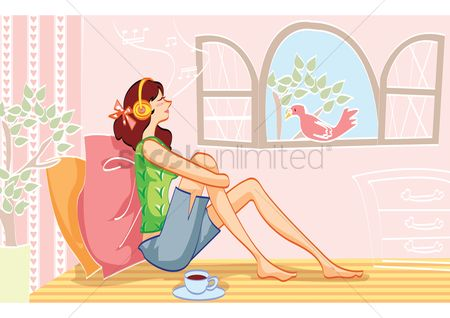 Lifestyle : Woman relaxing while listening to music