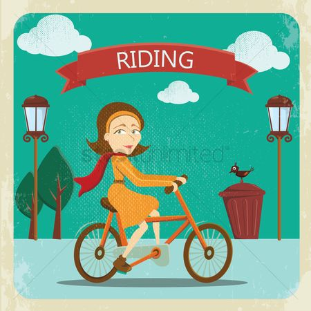 Cycle : Woman riding a bicycle
