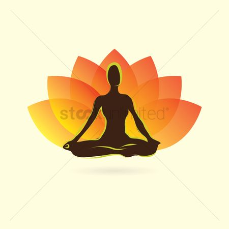 Health : Woman silhouette practising yoga in lotus pose