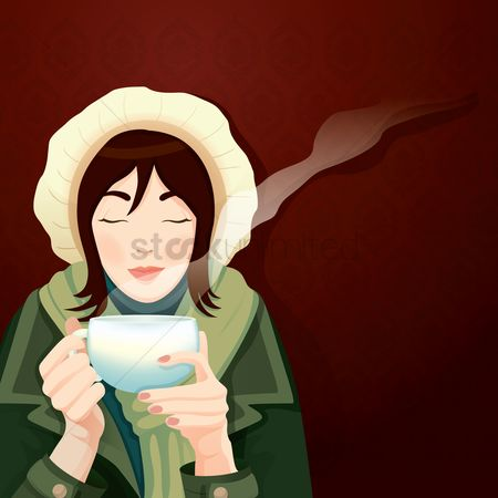 Warm : Woman sipping a cup of tea