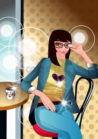 Trendy : Woman sitting in a coffee shop