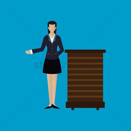 Waitresses : Woman standing next to a podium