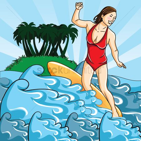Happy summer : Woman surfing