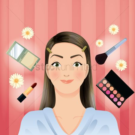 Brushes : Woman with beauty cosmetics