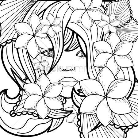 1974211 Adult Coloring Book Woman With Flowers Design