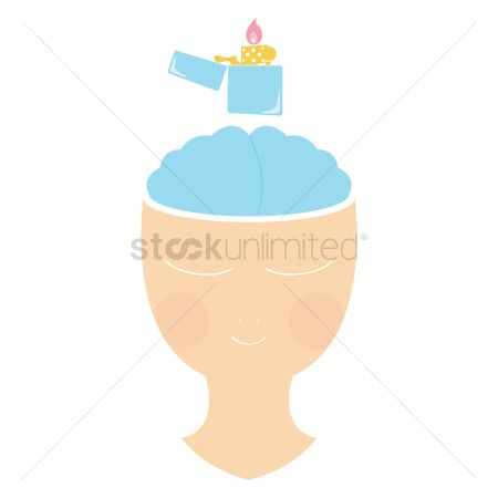 Lighter : Woman with lighter on mind concept