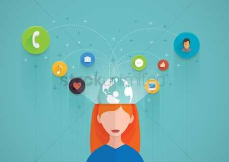 Love speech bubble : Woman with social media concept