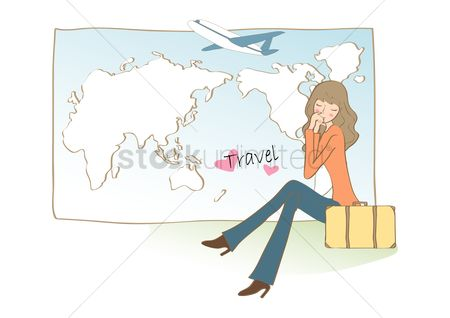 Airplane : Woman with travel map