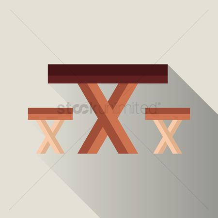 Dine : Wooden table and stool