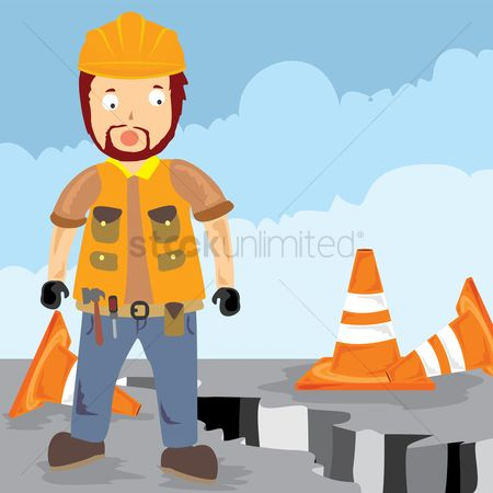 Contractor : Worker standing on the road