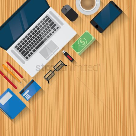 Pendrive : Workspace design flatlay with copyspace
