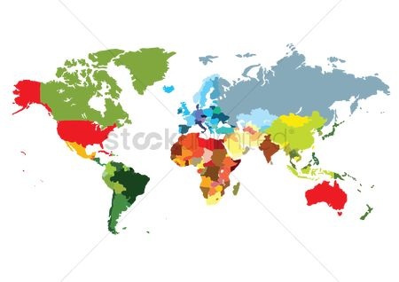 Countries : World map with colorful colors