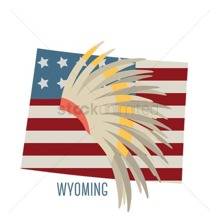 Headdresses : Wyoming state map with indian war bonnet