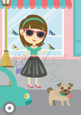 Fashions : Young lady shopping with her dog