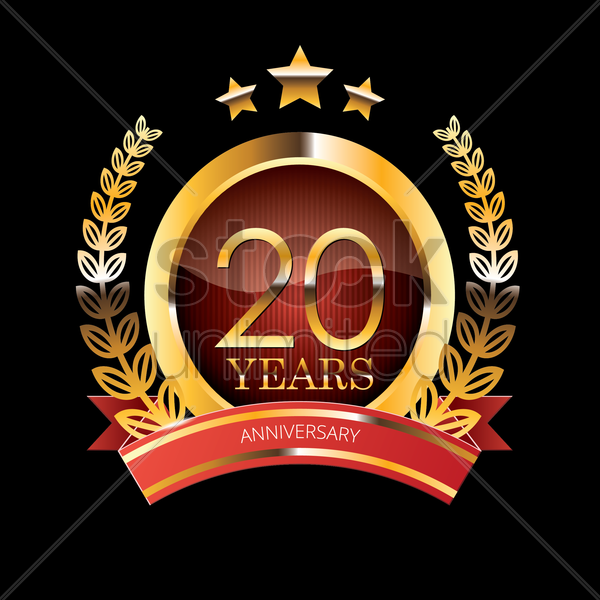 20 Years Anniversary Label With Ribbon Vector Image 1399807