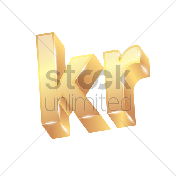 3d Krona Currency Symbol Vector Image 1828095 Stockunlimited
