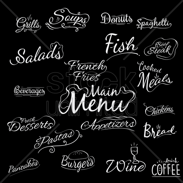 a collection of menu titles vector graphic