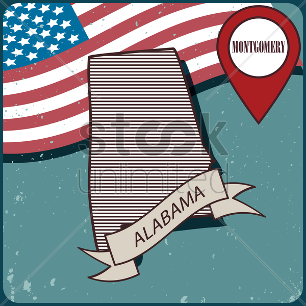 alabama map label vector graphic