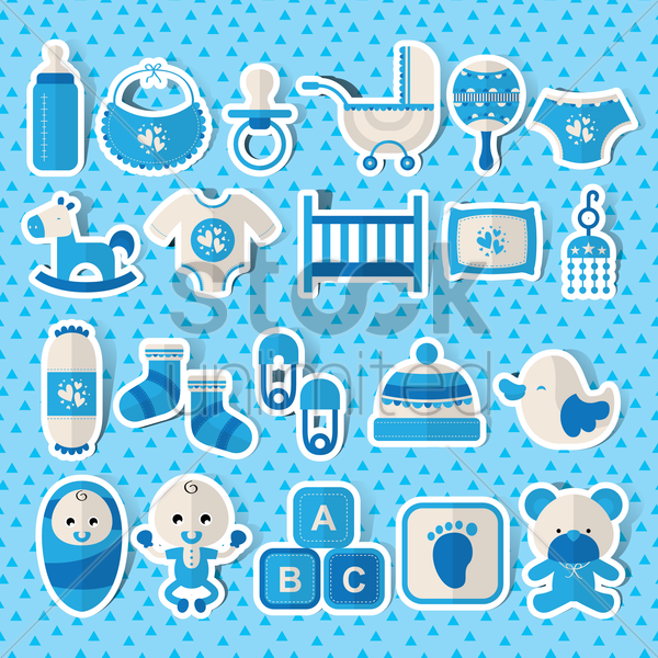 Free Baby items set Vector Image - 1291231 | StockUnlimited