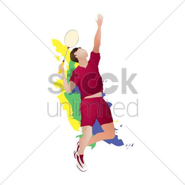 Badminton player in action Vector Image - 1817035 ... Badminton Player Png