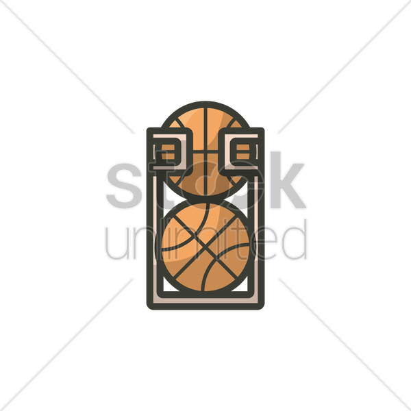 Basketballs Kept In A Sports Ball Storage Rack Vector Graphic