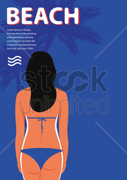 beach poster vector graphic