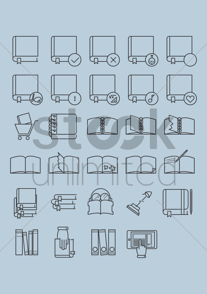 book icon collection vector graphic