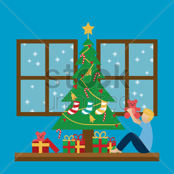 boy playing under a christmas tree vector graphic